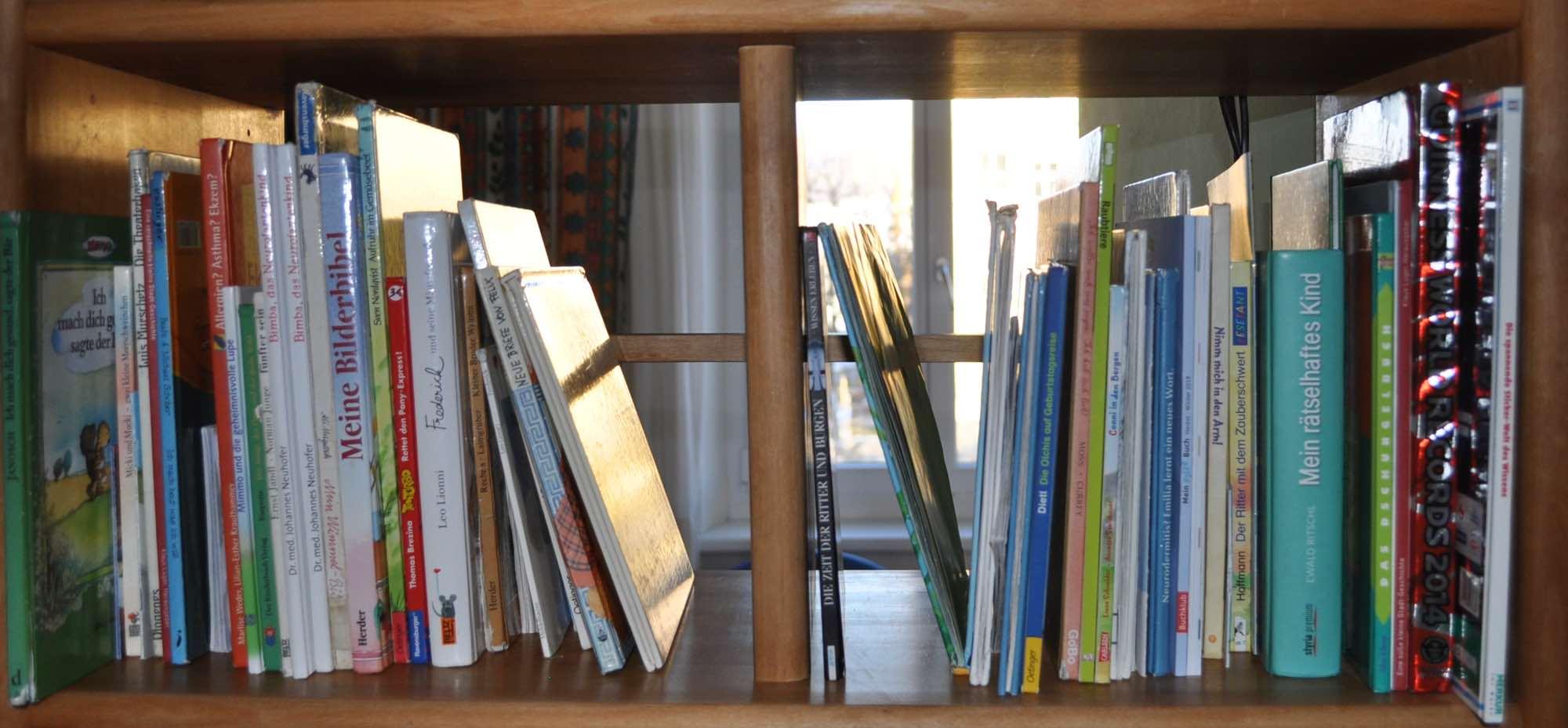 Bücherregal und der Abschnitt über unsere Leistungen